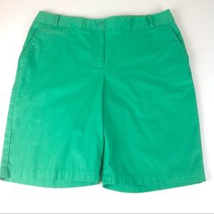 Talbots Stretch Bermuda Shorts Green Sz 12